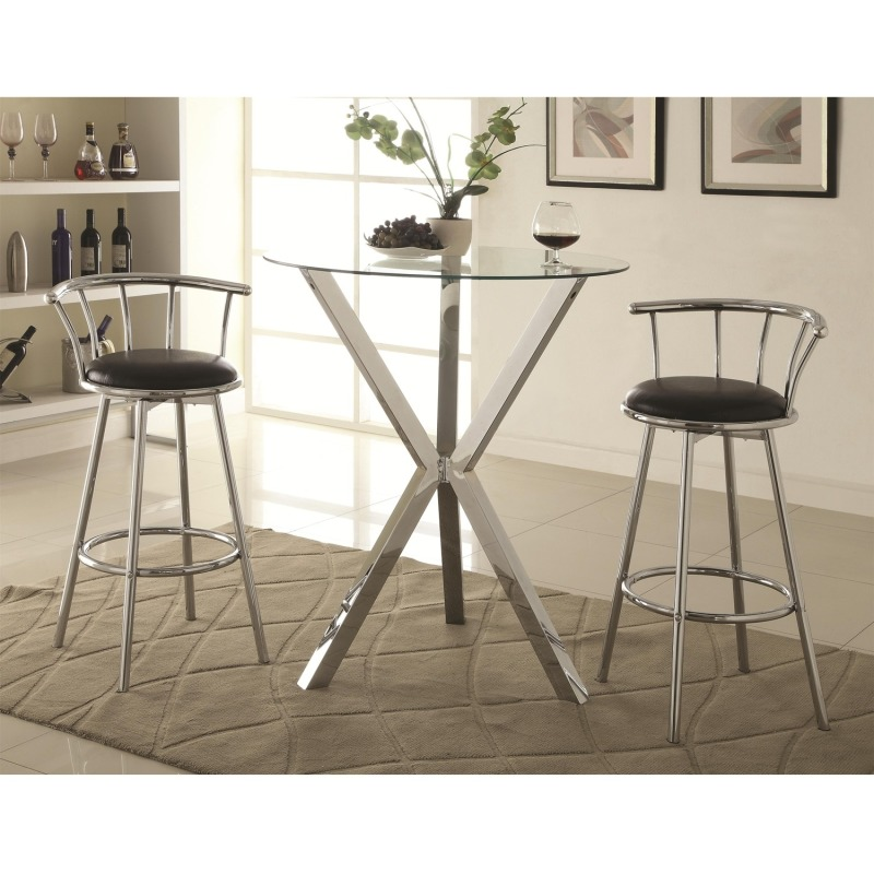 Bar Units and Bar Tables 3 Piece Pub Table Set with Swivel Bar Stools