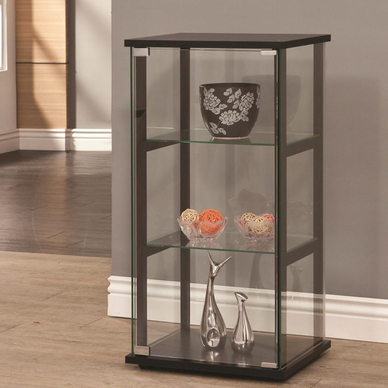 Curio Cabinets 3 Shelf Contemporary Glass Curio Cabinet