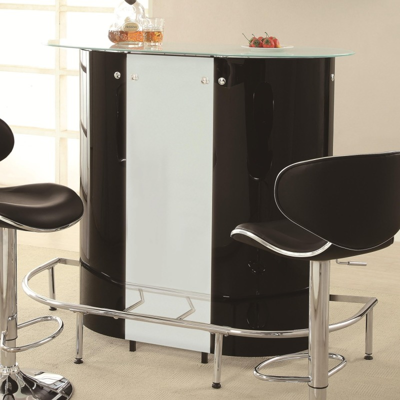 Bar Units and Bar Tables Contemporary Bar Unit with Frosted Glass Top
