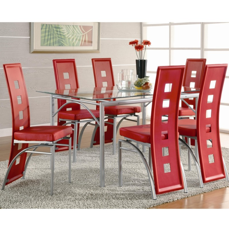 Los Feliz Contemporary Metal Dinner Table and Red Upholstered Chairs