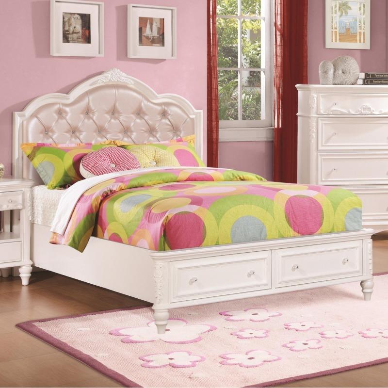 Caroline Twin Size Storage Bed w/ Diamond Tufted Headboard