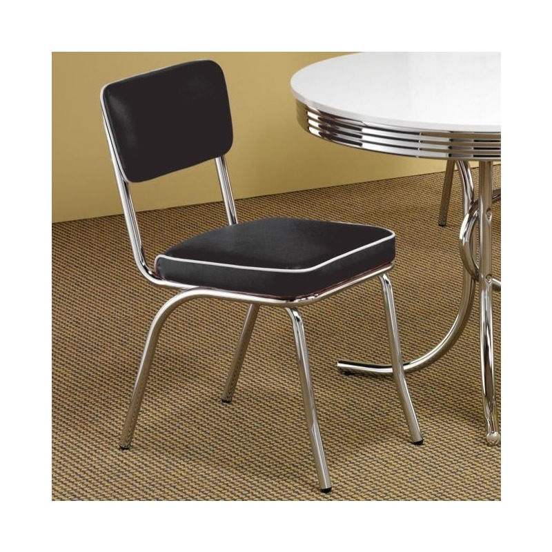 Cleveland Chrome Plated Side Chair with Black Cushion