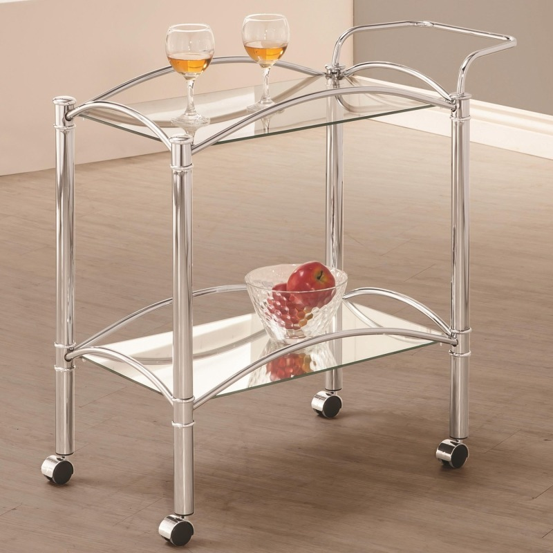 Kitchen Carts Chrome Serving Cart with Mirrored Bottom Shelf and Casters