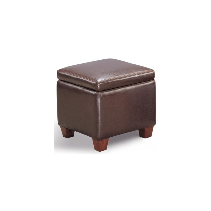 Ottomans Casual Faux Leather Storage Cube Ottoman