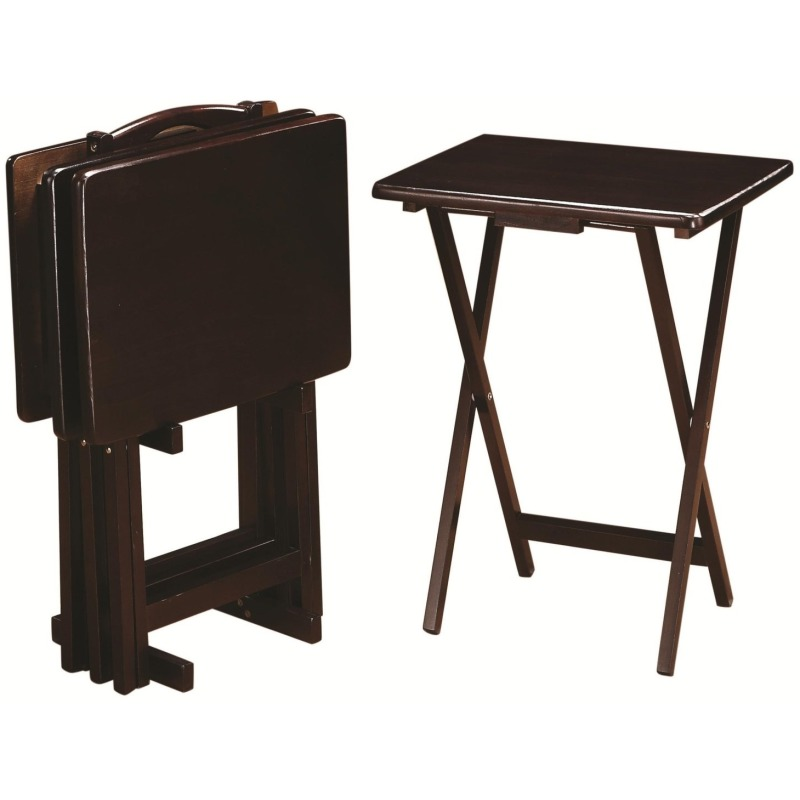 Tray Tables 5 Piece Cappuccino Tray Table Set