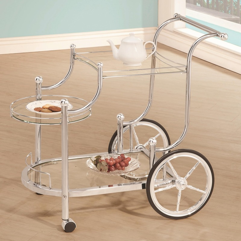 Kitchen Carts Traditional Wheeled Serving Cart with Chrome Finials