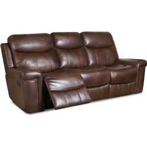 Softie Driftwood Italian Leather Reclining Sofa w/Power Headrests