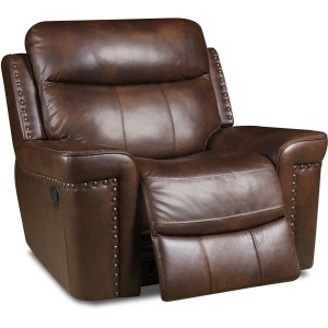 Softie Driftwood Italian Leather Recliner w/Power Headrest