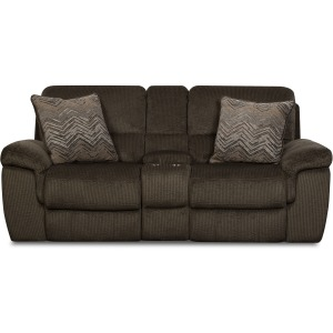 Reilly Chocolate Reclining Loveseat w/Console