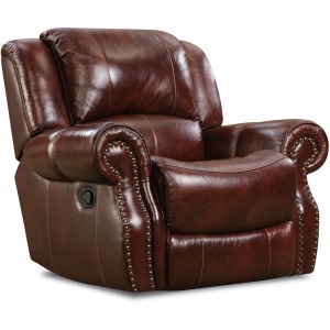 Softie Oxblood Italian Leather Recliner w/Power Headrest