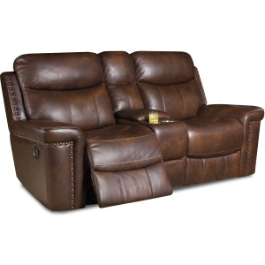Softie Driftwood Italian Leather Reclining Loveseat w/Power Headrests & Console
