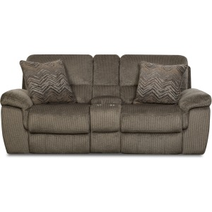 Reilly Taupe Reclining Loveseat w/Console