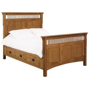 Deluxe Mission Raised 6-Drawer Bed - Queen