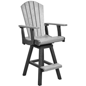 Swivel Pub Arm Chair - Slate/Light Grey