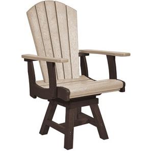 Addy Swivel Dining Arm Chair - Chocolate/Beige