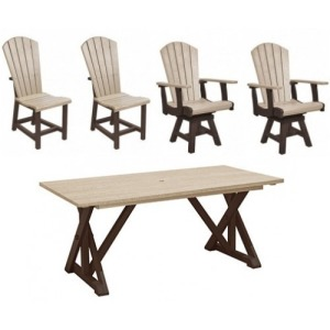 5 PC Outdoor Dining Set - Chocolate/Beige