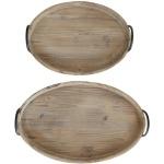 Decorative Wood Trays w/ Metal Handles - Set of 2