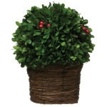 Preserved Boxwood Topiary w/ Red Berries, Single Ball in Woven Pot