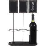 """Metal Wine Bottle Holder w/ Chalkboards Holds 3 Wine Bottles Chalkboard Size 4""""H"""