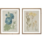 Wood Framed Wall Decor w/ Vintage Floral Image, 2 Styles