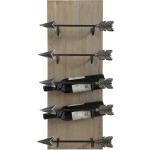 Wood & Metal Wall Wine Rack w/ Arrow Shaped Holders Holds 5 Wine Bottles
