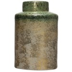 Decorative Ginger Jar - Reactive Glaze Iridescent Green