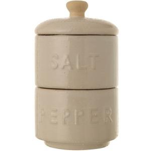 Stoneware Stackable Salt & Pepper Pots w/ Lid - White