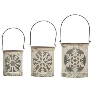 Metal Lanterns w/ Snowflake Cut Out & Handles, Distressed White, Set of 3