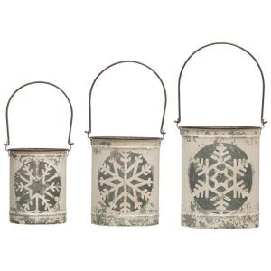 Metal Lanterns w/ Snowflake Cut Out & Handles, Distressed White, Set of 3
