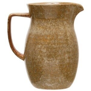 Stoneware Pitcher, Reactive Glaze, Mustard Color