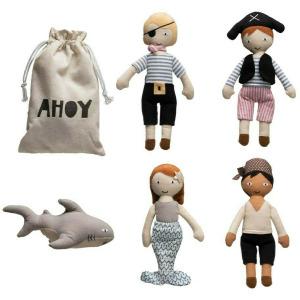 Cotton Pirate Dolls in Drawstring Bag