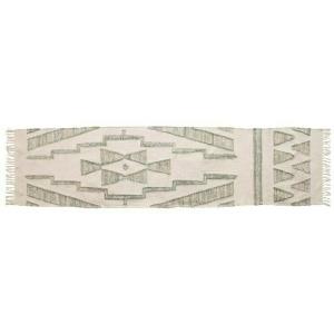 Hand-Woven Cotton & Wool Kilim Floor Runner, Variegated Green & Cream Color