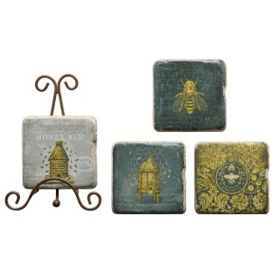 Resin Coasters w/ Bees & Metal Easel Set of 5