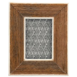 Hand-Carved Mango Wood Photo Frame w/ Bone Border & Ribbed Pattern, Natural