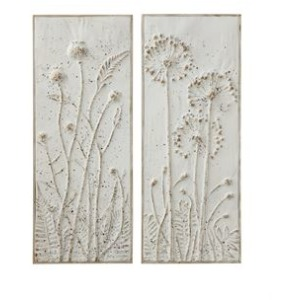 Metal Wall Decor w/Embossed Flowers, Distressed White Finish - 2 Styles