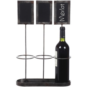 "Metal Wine Bottle Holder w/ Chalkboards Holds 3 Wine Bottles Chalkboard Size 4""H"