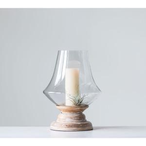 Hand-Blown Glass & Mango Wood Hurricane - Whitewashed