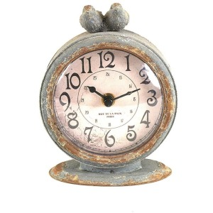Pewter Mantel Clock w/ Bird Grey Requires 1AA Battery