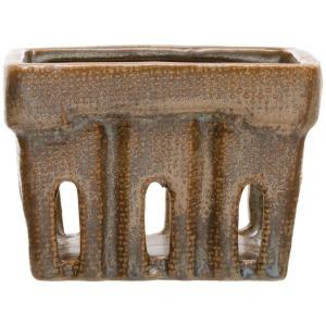Stoneware Berry Basket, Reactive Glaze, Blue/Brown