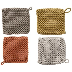 "8"" Square Cotton Crocheted Pot Holder, 4 Colors"