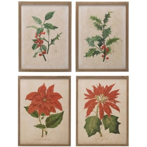 Wood Framed Wall Decor w/ Christmas Floral Image, 4 Styles