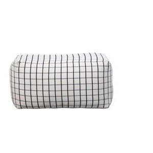 Cotton Woven Pouf, Black & Cream Grid