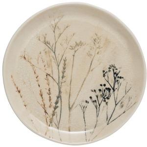 Round Stoneware Debossed Floral Plate - Reactive Crackle Glaze