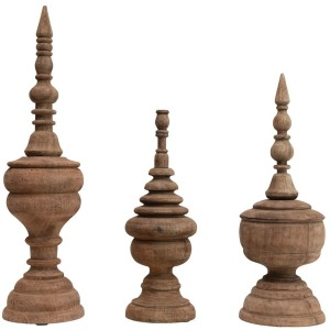 Carved Mango Wood Finials, Set of 3