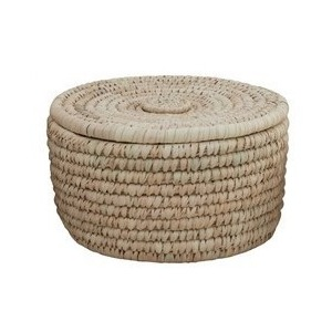 Hand-Woven Grass & Date Leaf Basket w/ Lid - Medium