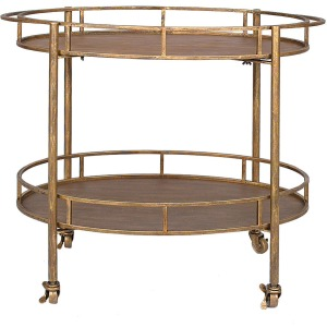 Metal Oval 2-Tier Bar Cart On Casters Gold KD