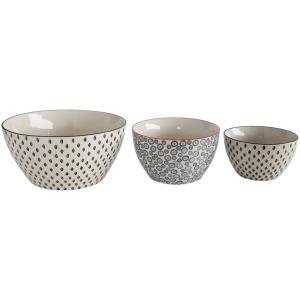 "9-3/4"" 7-1/2"" & Stoneware Hand-Stamped Bowls Set of 3"
