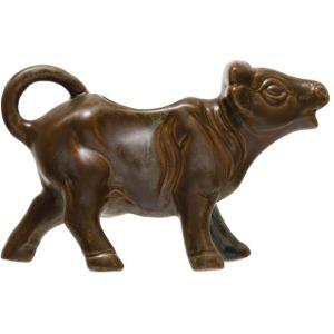 Stoneware Cow Pitcher, Reactive Glaze, Blue/Brown