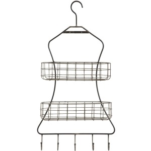 Metal Wall Rack w/ 2 Wire Shelves & 5 Hooks