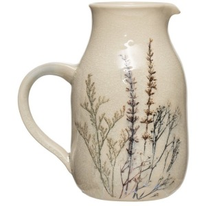 Stoneware Debossed Floral Pitcher - Reactive Crackle Glaze